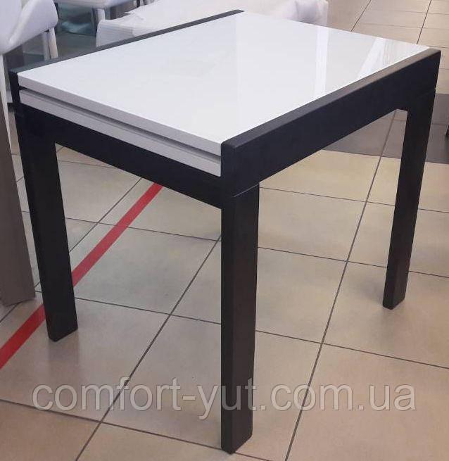 Стол обеденный Слайдер Венге со стеклом Ультрабелый, 81,5(+81,5)*67см