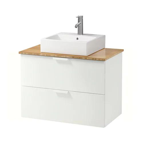 Шкаф с раковиной IKEA GODMORGON / TOLKEN / TÖRNVIKEN 82x49x72 см с ящиками бамбук белый 892.054.18