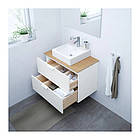 Шкаф с раковиной IKEA GODMORGON / TOLKEN / TÖRNVIKEN 82x49x72 см с ящиками бамбук белый 892.054.18, фото 2