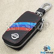 Ключница карманная (кожаная, черная, под карбон, на молнии, с карабином, с кольцом), логотип Nissan (Ниссан)
