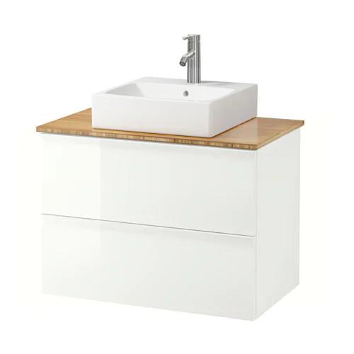 Шкаф с раковиной IKEA GODMORGON / TOLKEN / TÖRNVIKEN 82x49x72 см с ящиками бамбук глянец белый 692.051.84