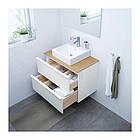 Шкаф с раковиной IKEA GODMORGON / TOLKEN / TÖRNVIKEN 82x49x72 см с ящиками бамбук глянец белый 692.051.84, фото 2
