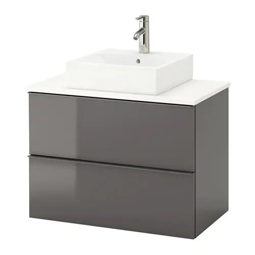 Шкаф с раковиной IKEA GODMORGON / TOLKEN / TÖRNVIKEN 82x49x72 см с ящиками глянец серый белый 891.878.86