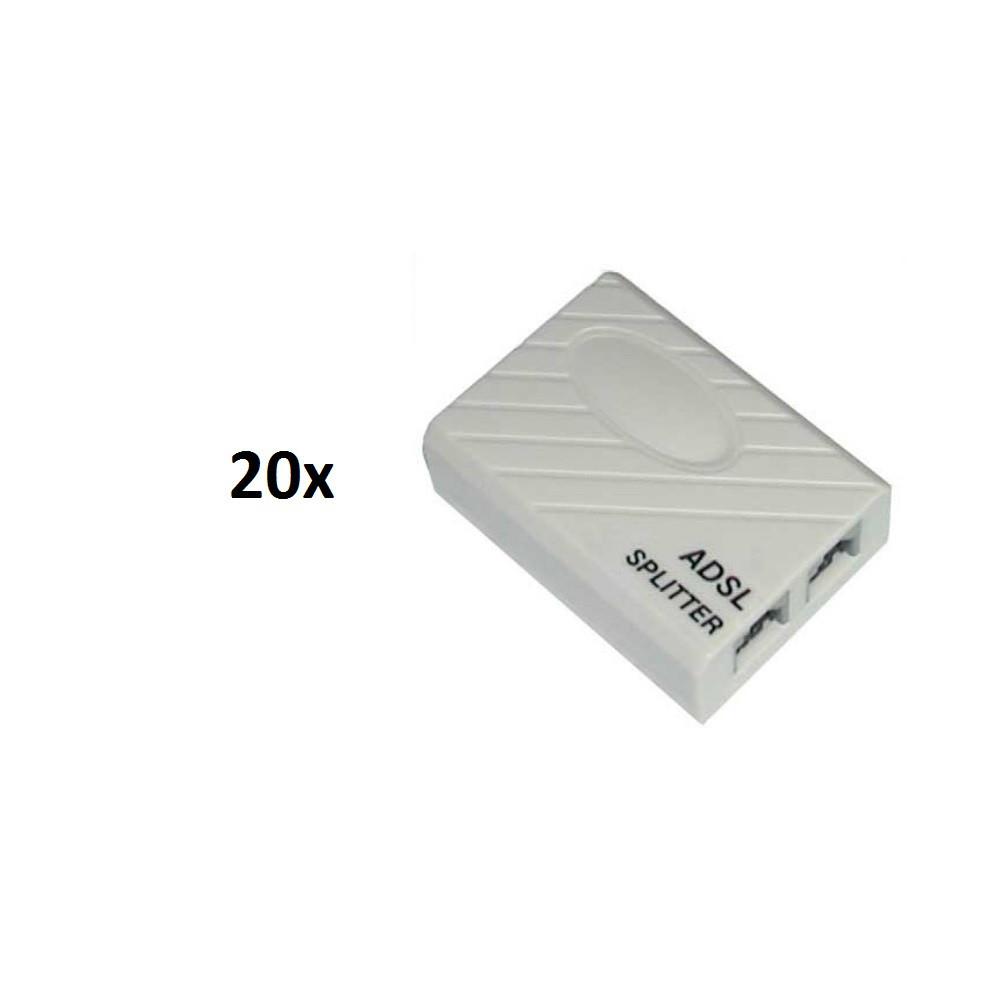 20х Телефонный сплиттер ADSL разветвитель для телефона и модема (20 шт