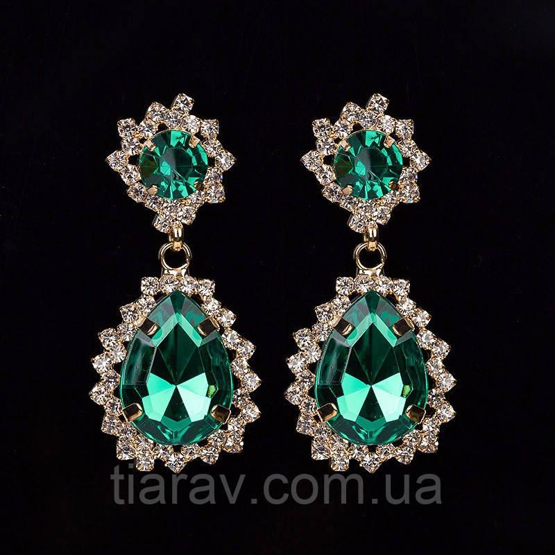 Серьги с зелеными камнями бижутерия свадебная