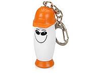 Брелок-фонарик с ручкой в виде человечка в каске, белый/оранжевый (711108_OS)