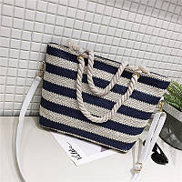 Женская сумка пляжная в синюю полоску с ручкой в виде канатной верёвки опт
