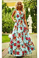 Платье в пол с цветочным принтом