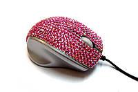 USB проводная оптическая мышка с камнями Swarovski женская мышь Pink