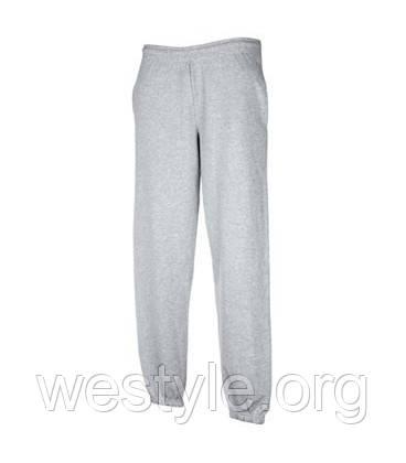 Спортивные брюки трикотажные с резинкой снизу - 64026-94 серо-лиловые