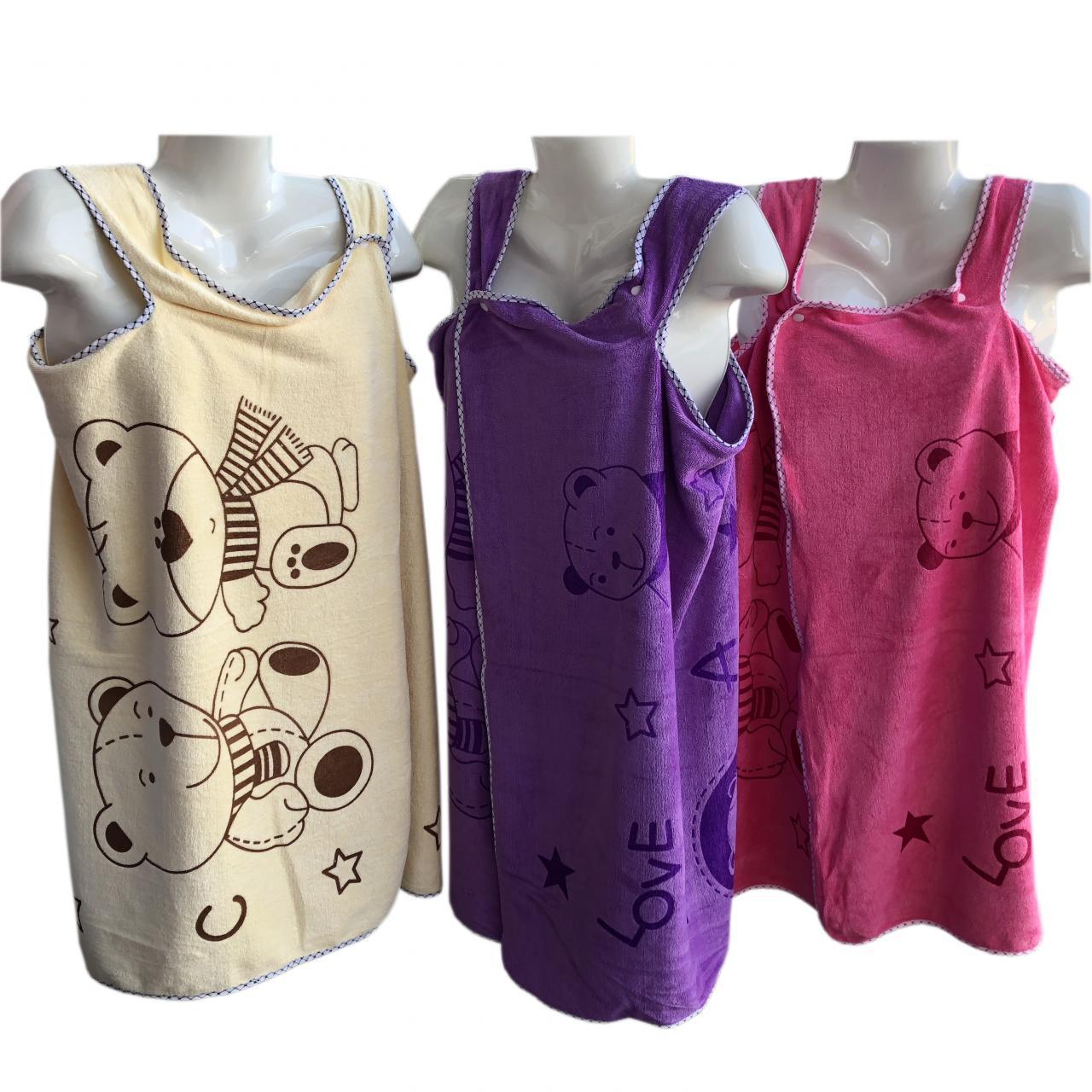 """БАННОЕ полотенце-халат из микофибры на кнопочках """"Мишки+звезды"""" оптом 106-1"""
