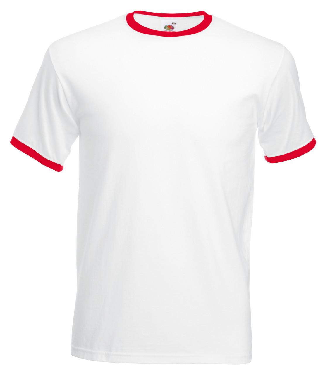 Мужская Футболка c Цветной Окантовкой Fruit of the loom Белый/Красный 61-168-Wm S