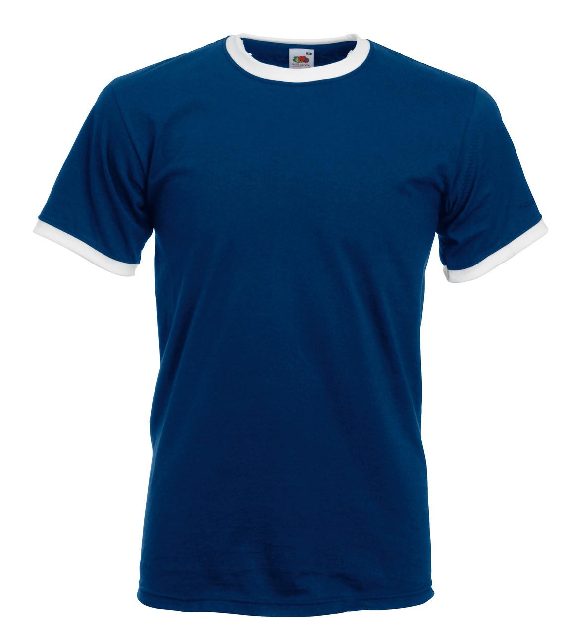 Мужская Футболка с Цветной Окантовкой Fruit of the loom Тёмно-Синий/Белый 61-168-22 L