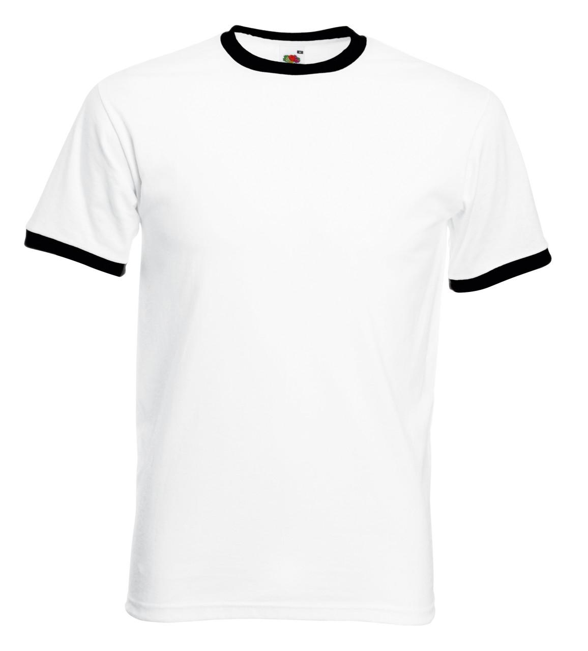 Мужская Футболка с Цветной Окантовкой Fruit of the loom Белый/Чёрный 61-168-Th L
