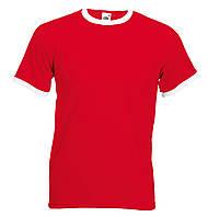 Мужская Футболка с Цветной Окантовкой Fruit of the loom Красный/Белый 61-168-Rw Xl, фото 1