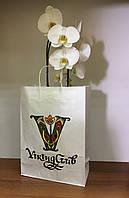 Бумажный пакет с кручеными ручками 390х280х120 с оригинальной печатью (Белый крафт)