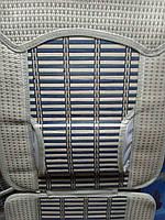 Накидка сидения бамбуковая FM-A07042 с подголовником, соломка+ ткань по краю (2шт)