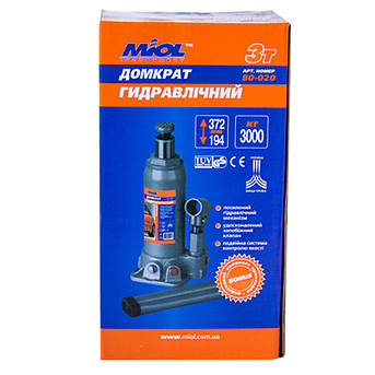 Домкрат гидравлический бутылочный 3т Miol 80-020 (194-372мм), фото 2
