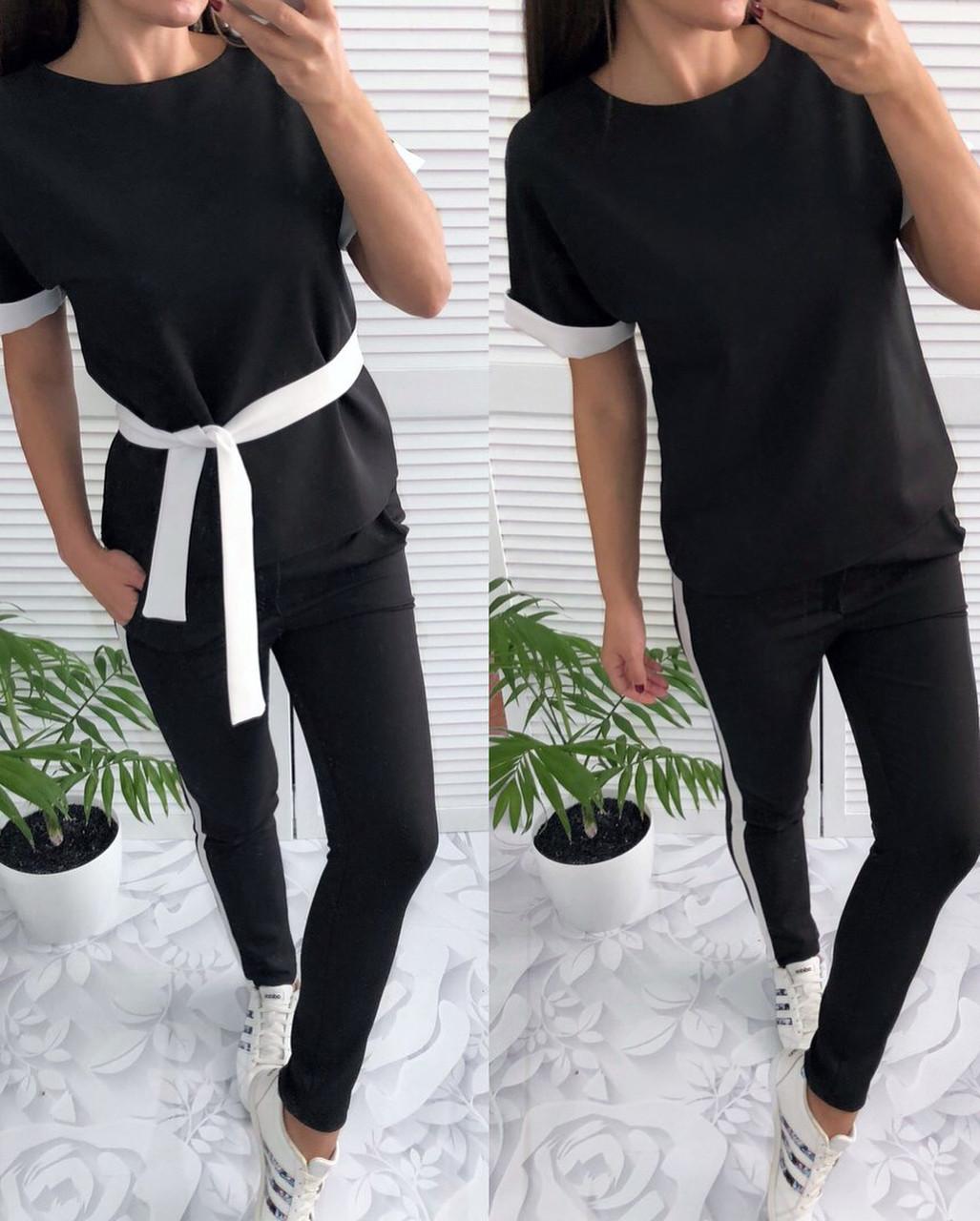 5a79c6bae6c7 Модный женский костюм, черного цвета с белыми лампасами - Интернет-магазин  одежды и обуви