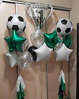 Круглый фольгированный футбольный шар-сфера с гелием, диаметр 48 см, фото 1