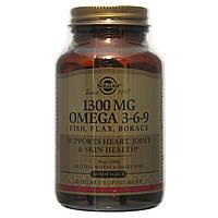 Рыбий жир, Омега 3 6 9 (EFA, Omega 3-6-9), Solgar, 1300 мг, 60 капсул
