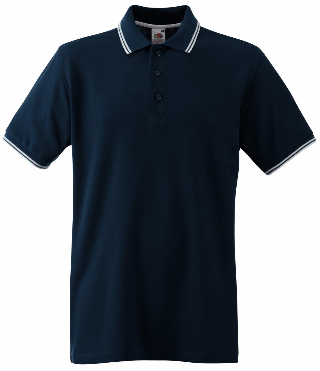 Мужское Поло Глубоко Тёмно-синее с Белыми Полосками Fruit of the loom 63-032-85 S