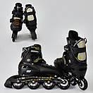 Роликовые коньки (ролики) раздвижные A24914 размер 39-42 черные, фото 2