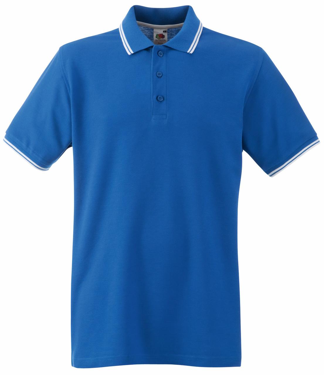 Мужское Поло Ярко-синее с Белыми Полосками Fruit of the loom 63-032-KbXxl