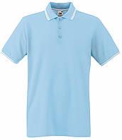 Мужское Поло Небесно-голубое с Белыит полосками Fruit of the loom 63-032-Rs Xxl, фото 1