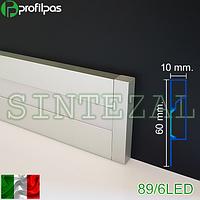 Прямоугольный алюминиевый плинтус с LED-подсветкой, 60х10 мм., фото 1