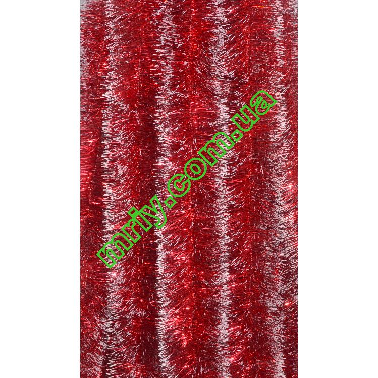 Новогодняя мишура Д10  красный/б