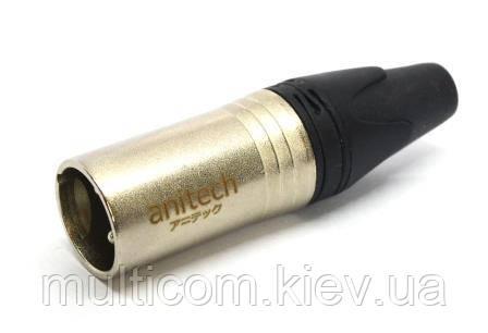 01-03-016. Штекер CANON (XLR) 3pin под кабель, корпус металл, серебристый