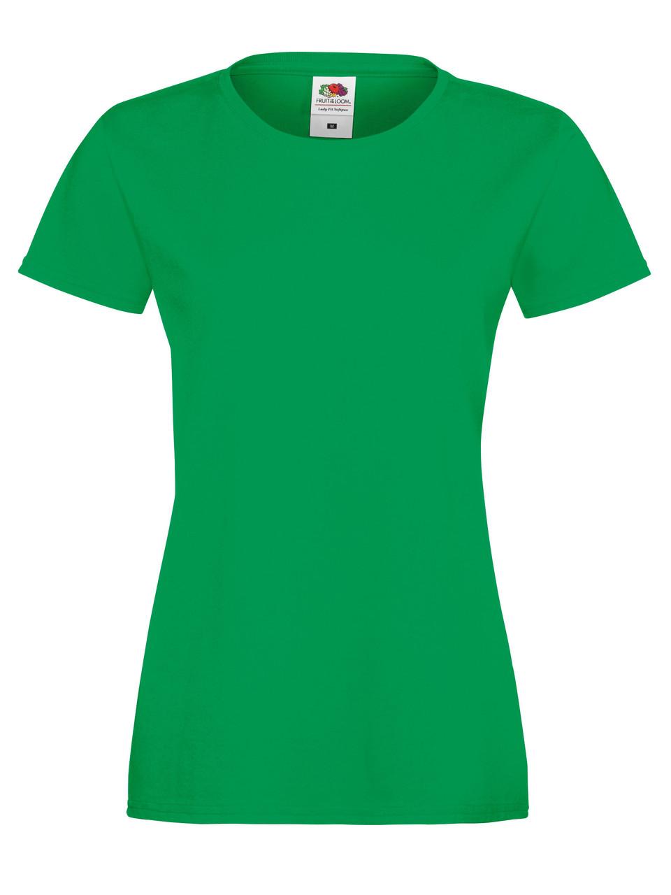 Женская Футболка Мягкая Ярко-зелёная Fruit of the loom 61-414-47 L