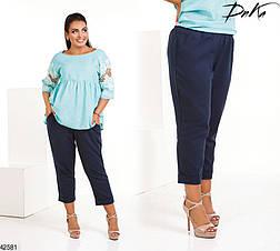 Женские летние брюки-капри лен размеры 50-52, 54-56, фото 3