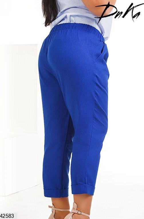 Женские летние брюки-капри лен размеры 50-52, 54-56