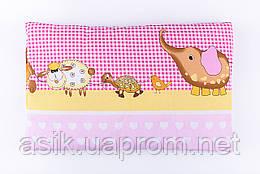 """Дитяча подушка 60*40 для новонароджених """"Слоник і черепаха"""", колір фіолетовий."""