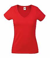 Женская Футболка С V-образным вырезом Красная Fruit of the loom 61-398-40 M