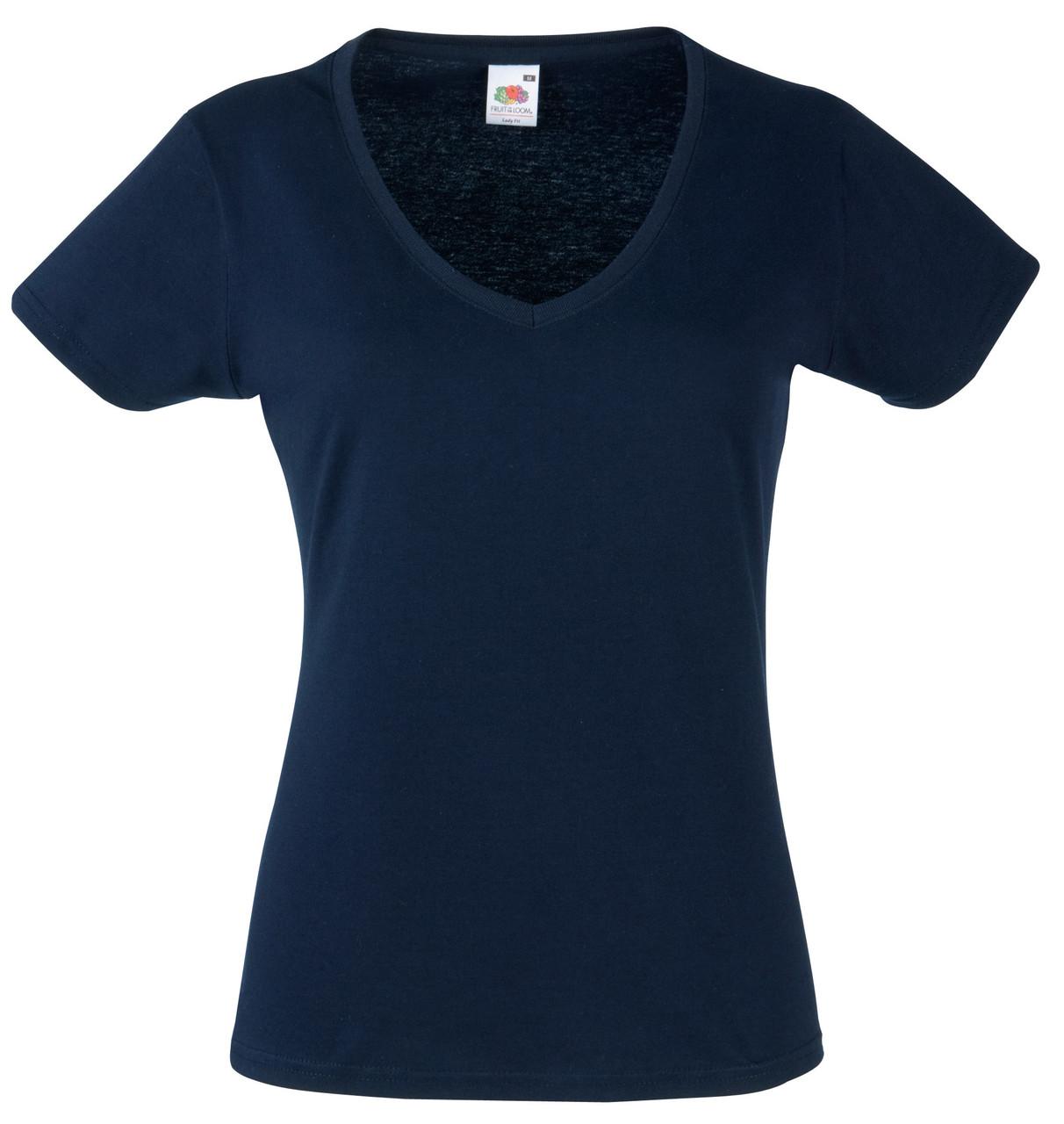 Женская Футболка С V-образным вырезом Глубоко тёмно-синяя Fruit of the loom 61-398-az M