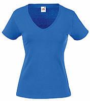 Женская Футболка С V-образным вырезом Ярко-синяя Fruit of the loom 61-398-51 XL, фото 1