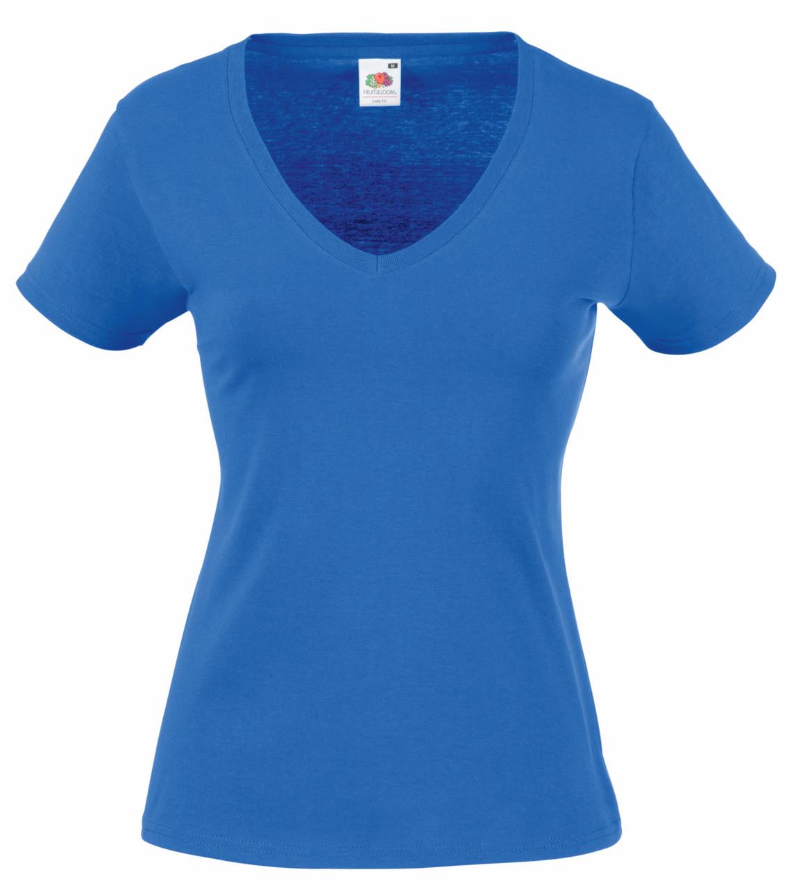 Женская Футболка С V-образным вырезом Ярко-синяя Fruit of the loom 61-398-51 XL