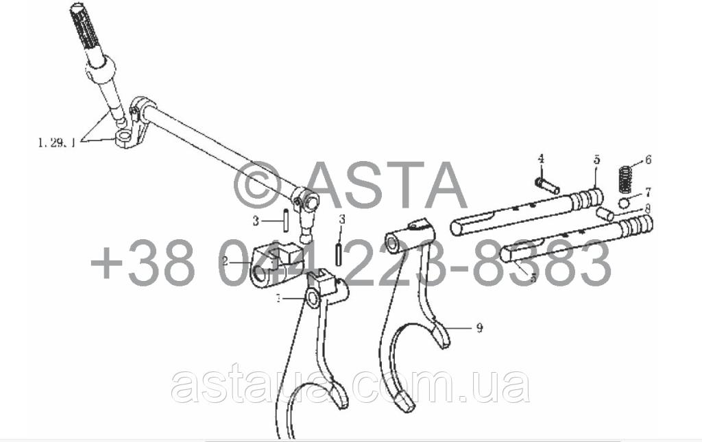 Механизм переключения передач на YTO-X904