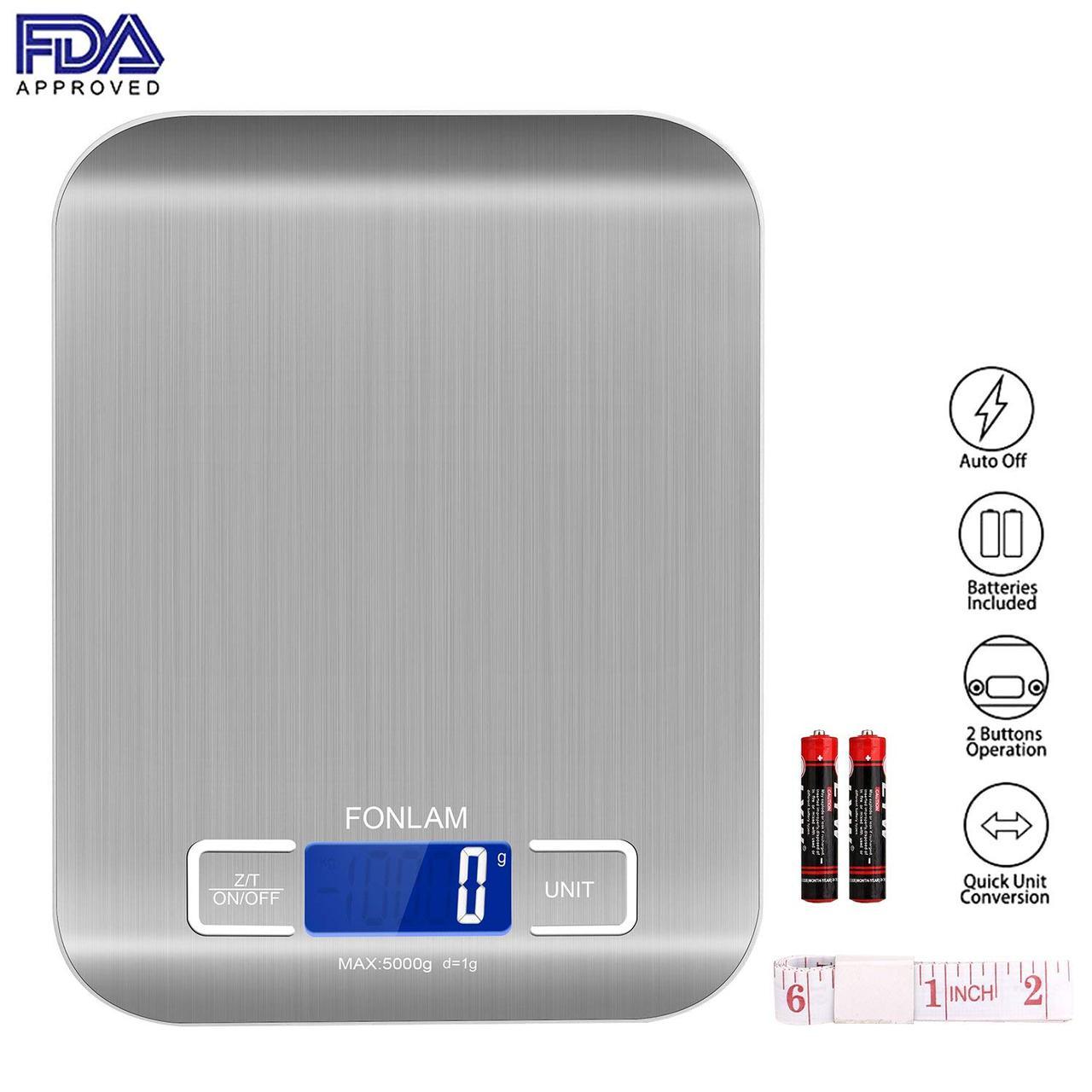 Кухонные цифровые весы FONLAM с металлическим корпусом