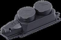 Розетка (колодка) двухместная с защитными крышками ОМЕГА IP44 РБ32-1-0м IEK