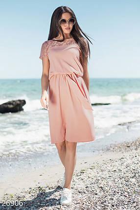 Модное платье на лето полуоблегающее короткий рукав гипюровая вставка пудрово розовое, фото 2