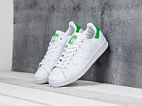 Женские кроссовки Adidas Stan Smith белые с зеленым