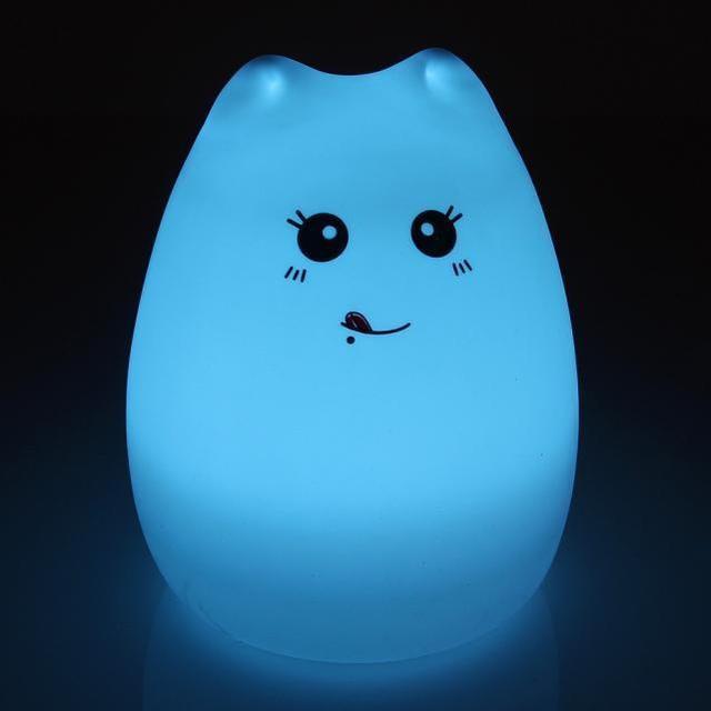Силиконовый LED ночник-лампа Кошечка