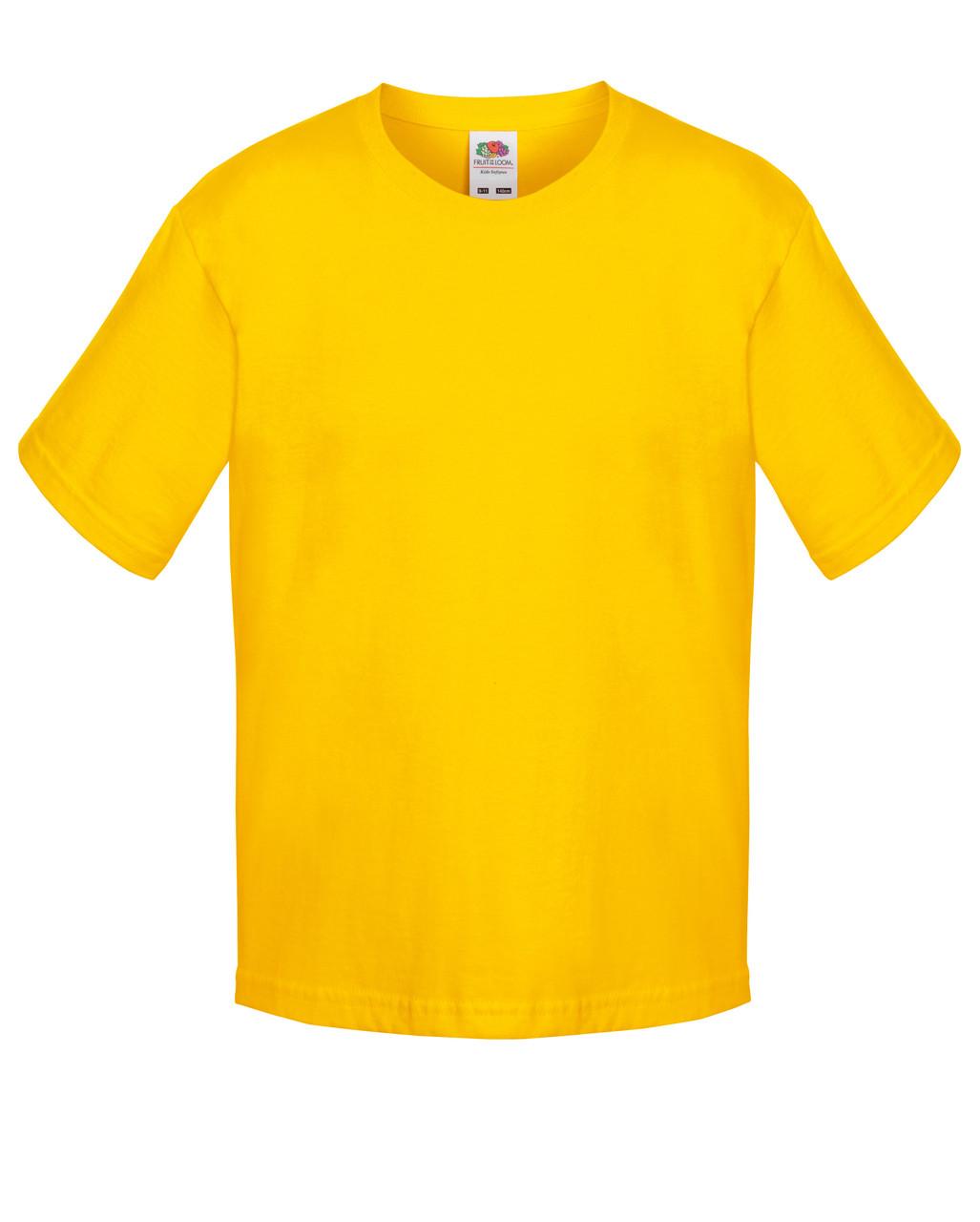 Детская футболка Мягкая для Мальчиков Солнечно-жёлтая Fruit of the loom 61-015-34 7-8