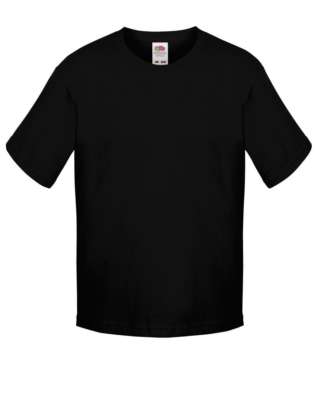 Детская футболка Мягкая для Мальчиков Чёрная Fruit of the loom 61-015-36 7-8