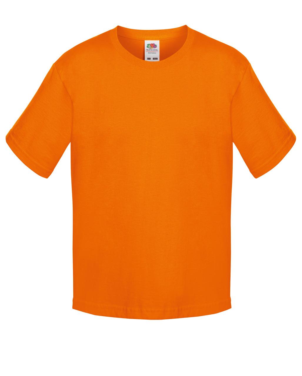 Детская футболка Мягкая для Мальчиков Оранжевая Fruit of the loom 61-015-44 7-8
