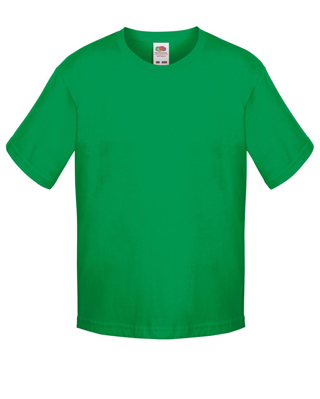 Детская футболка Мягкая для Мальчиков Ярко-зелёная Fruit of the loom 61-015-47 7-8